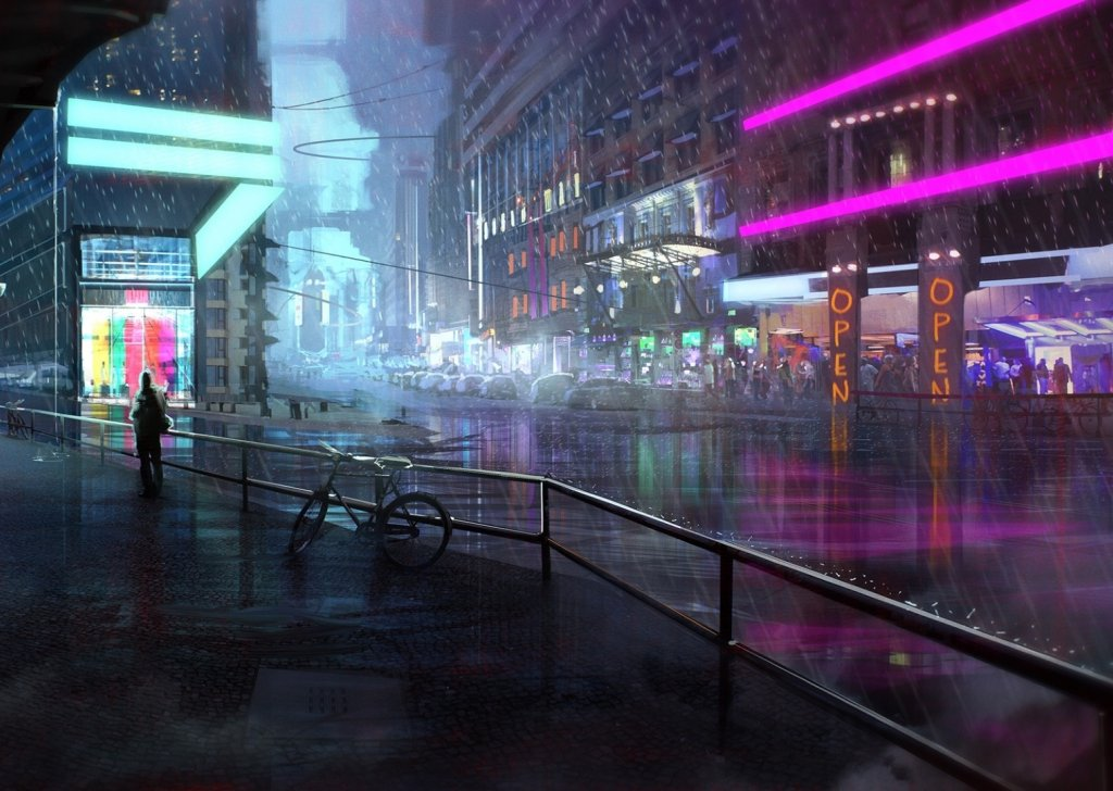 calm night at the neon cafe cyberpunk audio atmosphere